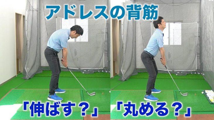 アドレスで背筋を「伸ばす」か「丸める」かを決めるポイント|2重振り子のゴルフスイング 新井淳